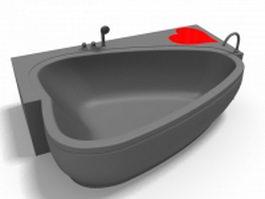 Heart shape pedestal bathtub 3d model preview