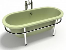 Pedestal tub with stainless steel base 3d model preview