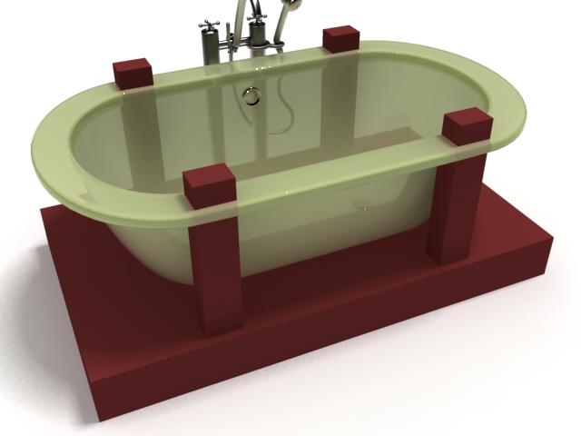 Free-standing fiberglass bathtub 3d rendering