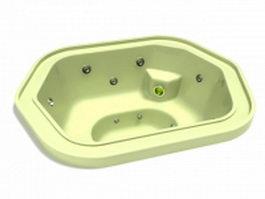 Sunken jet spa tub 3d model preview