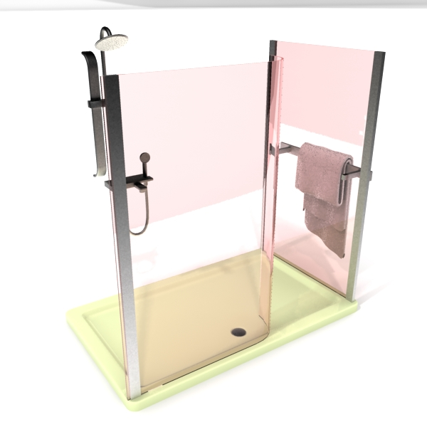 Pink frameless tempered glass shower cubicle 3d rendering