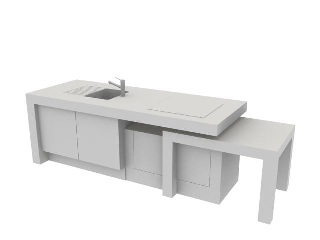 Kitchen table sink 3d rendering