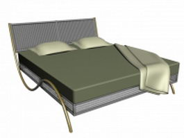 Brass platform double bed 3d model preview