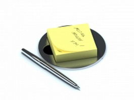 Post-it note and pen 3d preview