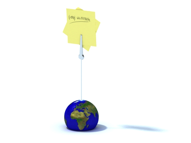 Globe memo clip and sticky note 3d rendering