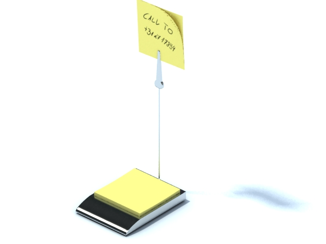 Memo holder with clip and sticky note 3d rendering