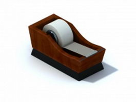 Wooden sticky tape dispenser 3d model preview