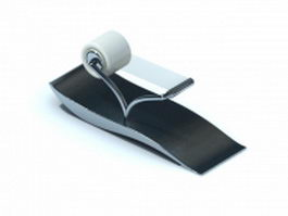 Stainless steel tape dispenser with sticky tape 3d model preview
