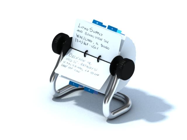 Rolodex card holder 3d rendering