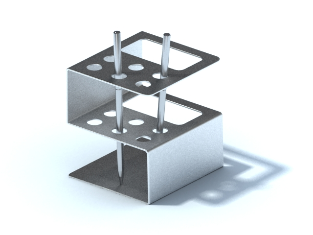 Stainless steel pen holder with pens 3d rendering