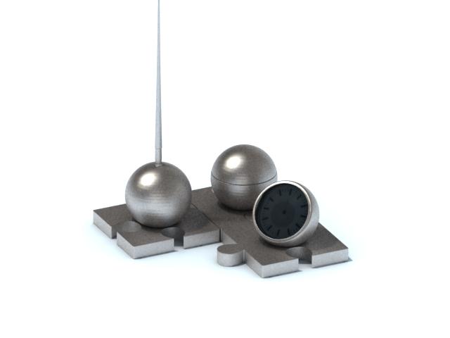 Desk pen holder with clock 3d rendering