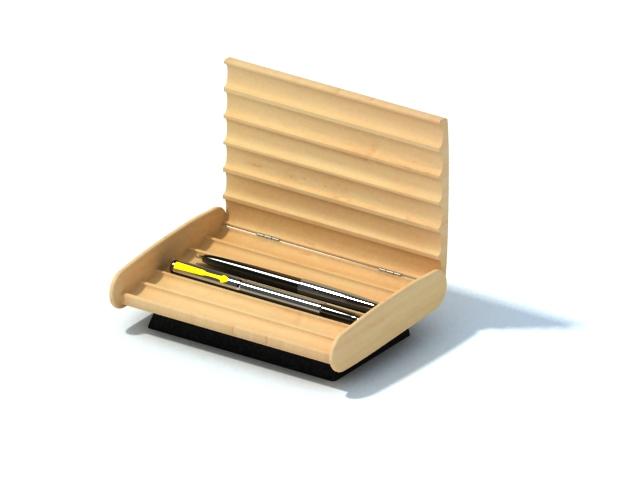 Wood pen holder box 3d rendering
