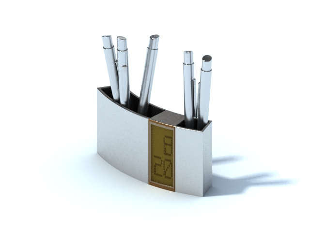 Pen holder with digital thermometer 3d rendering