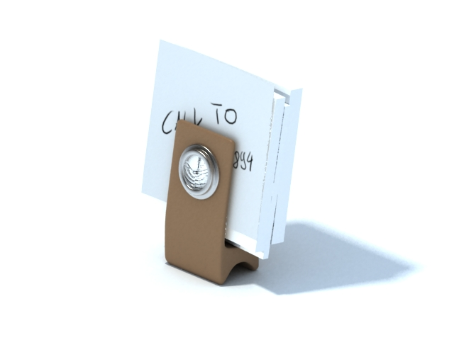 Desk note holder with clock 3d rendering
