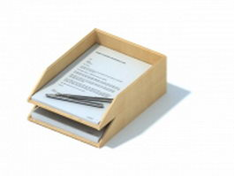 Office wooden file holder rack 3d model preview