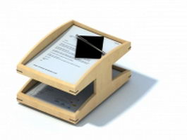 Wooden file holder document rack 3d model preview