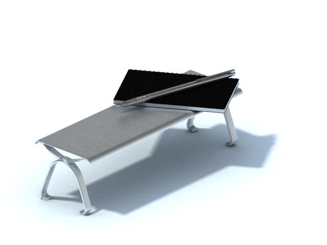 Desktop aluminium book stand 3d rendering