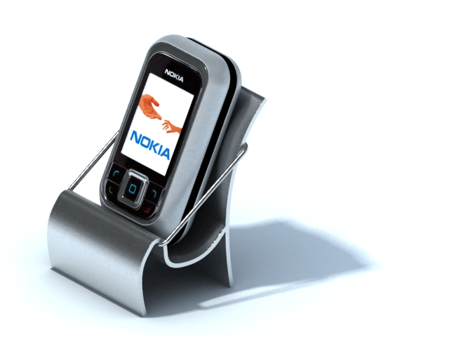 Mobile phone holder with phone 3d rendering
