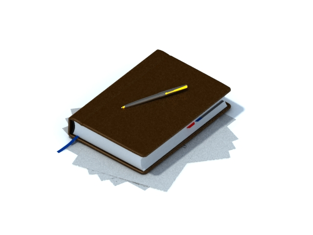 PU leather notebook with pen 3d rendering