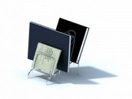 Wire document holder with notebooks 3d preview