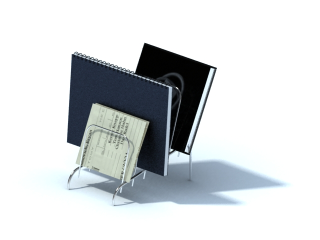 Wire document holder with notebooks 3d rendering