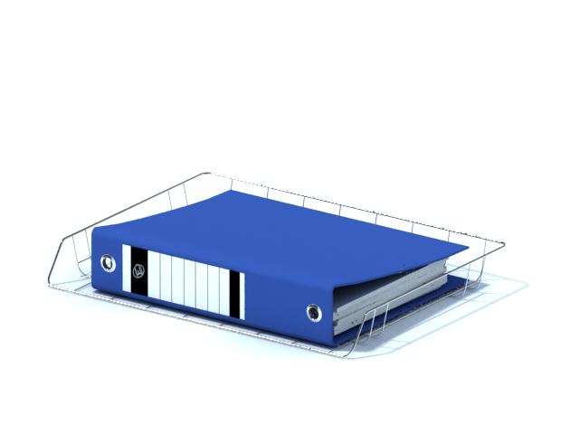 Blue file folder with wire folder holder 3d rendering
