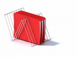 Wire holder with red file folder 3d preview
