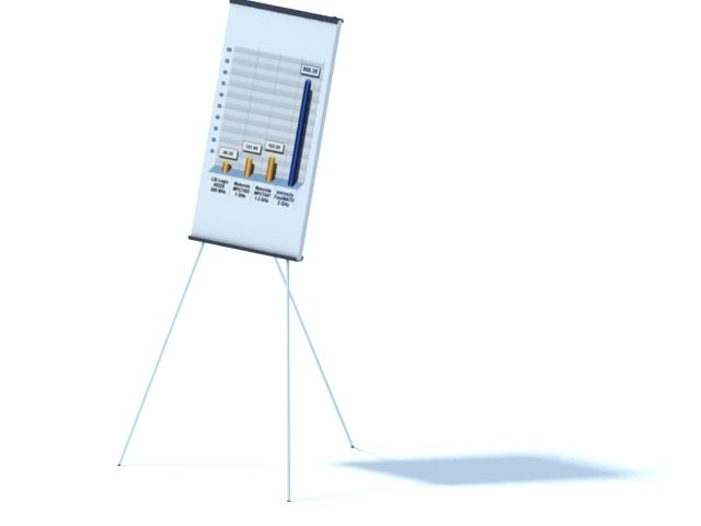 Tripod flip chart board 3d rendering