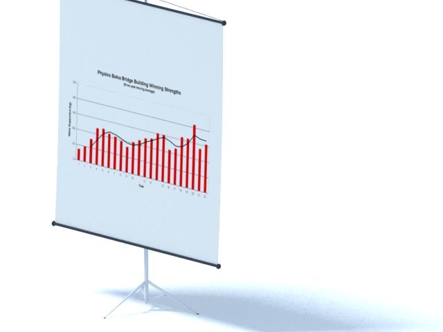 Paper flip chart stand 3d rendering