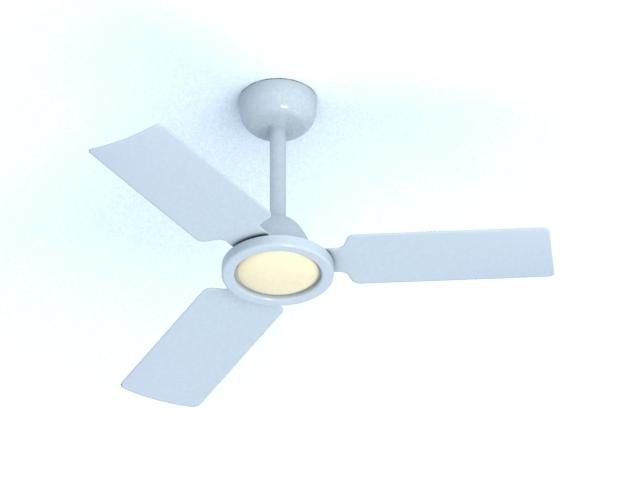 Ceiling fan with light 3d rendering