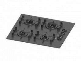 Cast iron burner cooktop 3d preview