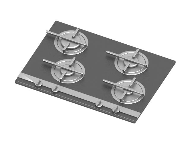 4 burner electric cooktop 3d rendering