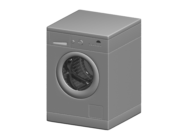 Automatic front loading washing machine 3d rendering