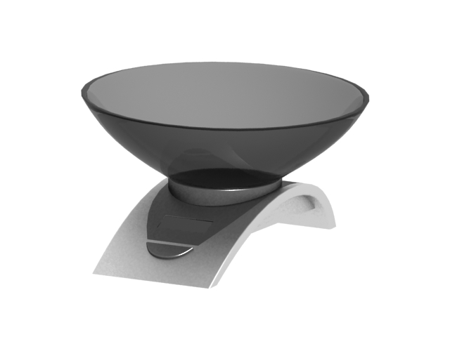 Digital kitchen scale with bowl 3d rendering