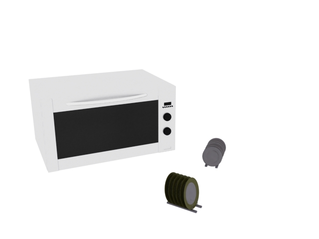 Microwave oven and dinner plates 3d rendering