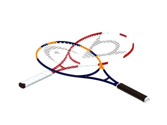 Carbon fiber tennis rackets 3d rendering