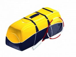 Sports bag and tennis racket 3d preview