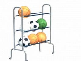 Sports balls storage rack 3d preview