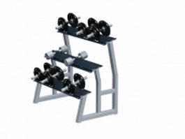 3 Tier Hex dumbbell rack 3d preview