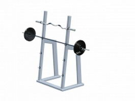 Vertical barbell rack stand 3d model preview