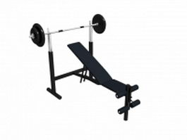 Weight bench with barbell and training rack 3d preview