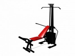 Multifunction gym cable pulldown exercise 3d model preview