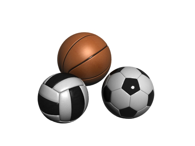 Football,basketball and volleyball 3d rendering