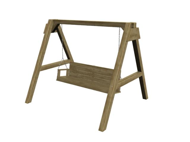 Wooden frame swing seat 3d rendering