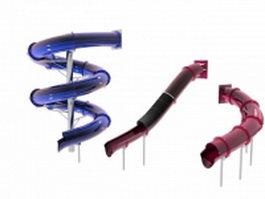 Playground tube slides 3d model preview