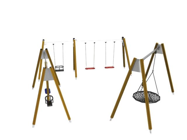 Playground swing set 3d rendering