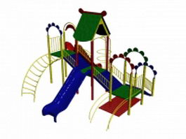 Outdoor playset with slide and ladder 3d model preview