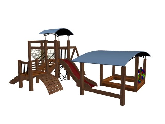 Outdoor wooden playhouse 3d rendering