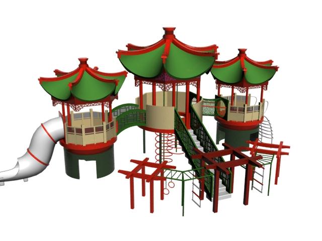 Outdoor playground playset 3d rendering