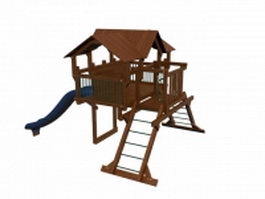 Wooden playhouse with slide 3d model preview